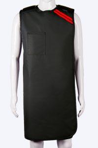 Radiation protective lead lined semi-wrap apron